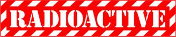 Наклейка  Radioactive Red1   прозрачная надпись на красном фоне