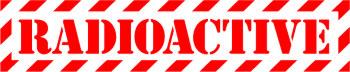 Наклейка  Radioactive Red 2   красная надпись на прозрачном фоне