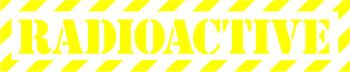 Наклейка  Radioactive Yellow 2   желтая надпись на прозрачном фоне