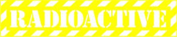 Наклейка  Radioactive Yellow 1   прозрачная надпись на желтом фоне