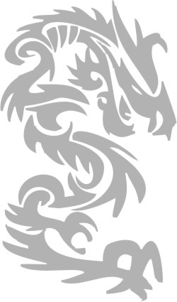 Наклейка гравировочная на окно   Chinese dragon   цвет серебристый металик
