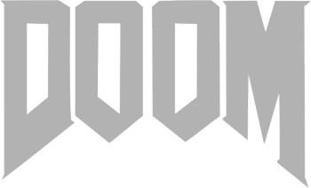Наклейка гравировочная на окно   Doom   цвет серебристый металик