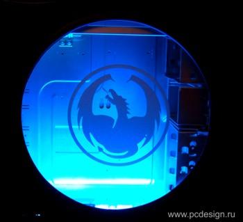Наклейка гравировочная на окно   Круг дракона   цвет серебристый металик