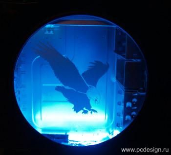 Наклейка гравировочная на окно   Eagle   цвет серебристый металик