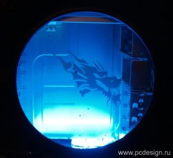 Наклейка гравировочная на окно   Evil Dragon   цвет серебристый металик
