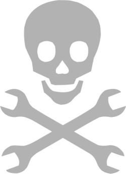 Наклейка гравировочная  Череп моддера и гаечные ключи
