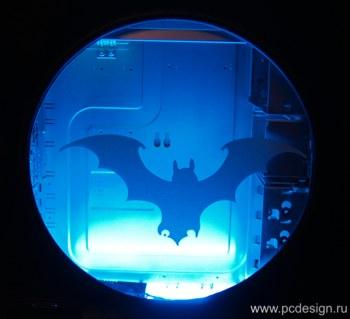 Наклейка гравировочная на окно   Летучий  Мышь   цвет серебристый металик