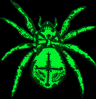 Светящаяся наклейка флуоресцентная Spider светится в УФ