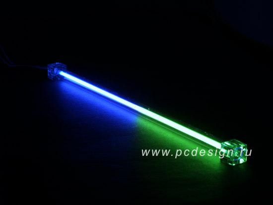 Неоновая лампа 2 х цветная  синий зеленый   длина 30 см  с инвертором