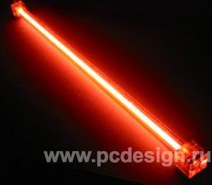 Неоновая лампа красная  длина 20 см  с инвертором