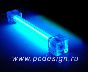 Неоновая лампа синяя  длина 10 см  с инвертором