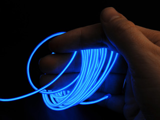 Неоновый шнур синий 2 3мм отрезок 1 метр без штекера и без инвертора