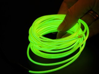 Неоновый шнур зелено желтый 2 3мм 3 метра со штекером без инвертора
