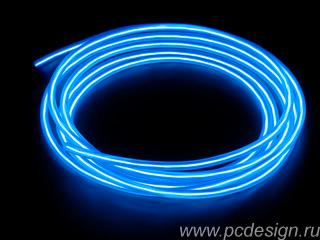 Конструктор Сделай сам толстый неоновый шнур синий диам  5 мм длина 2 5м