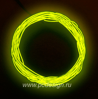 Конструктор Сделай сам неоновый шнур желтый диаметр 2 2 мм длина 2 5м