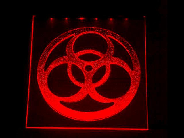 Окно ручной работы  с гравировкой и подстветкой   Biohazard красный