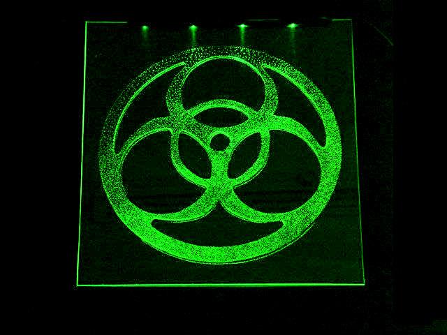 Окно ручной работы  с гравировкой и подстветкой   Biohazard зеленый