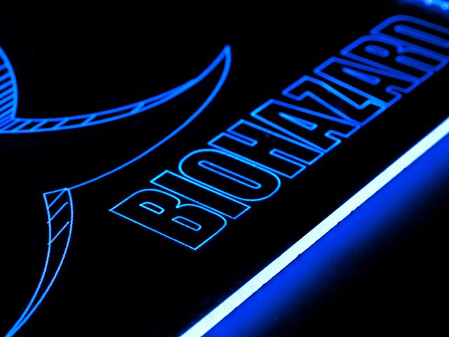 Окно для корпуса с гравировкой и подсветкой Biohazard синий BZ 20 blue 280x280