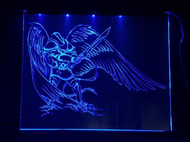 Окно ручной работы  с гравировкой и подстветкой  Fallen Angel  синий