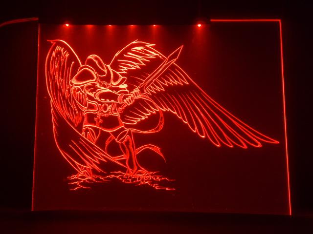Окно ручной работы  с гравировкой и подстветкой  Fallen Angel  красный
