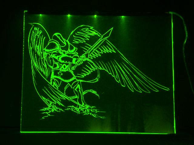 Окно ручной работы  с гравировкой и подстветкой  Fallen Angel  зеленый