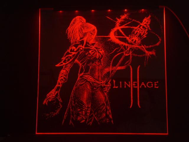 Окно ручной работы  с гравировкой и подстветкой  LineAge красная
