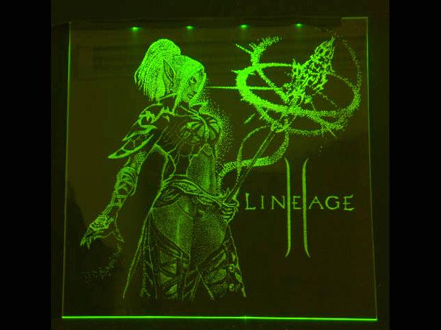 Окно ручной работы  с гравировкой и подстветкой  LineAge зеленая
