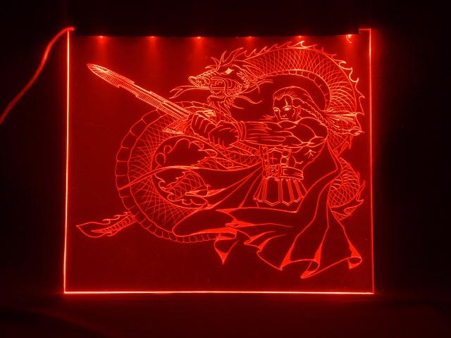 Окно ручной работы  с гравировкой и подстветкой   Magic Dragon красный