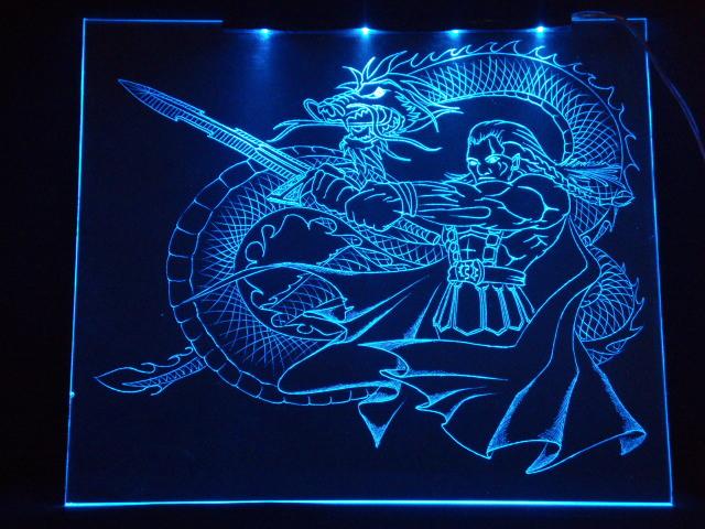 Окно ручной работы  с гравировкой и подстветкой   Magic Dragon синий