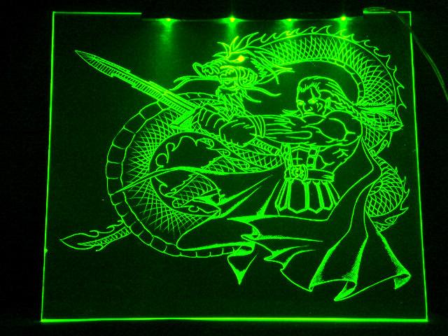 Окно ручной работы  с гравировкой и подстветкой   Magic Dragon зеленый