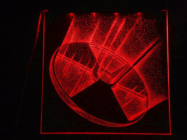Окно ручной работы  с гравировкой и подстветкой  Радиация 3d красная
