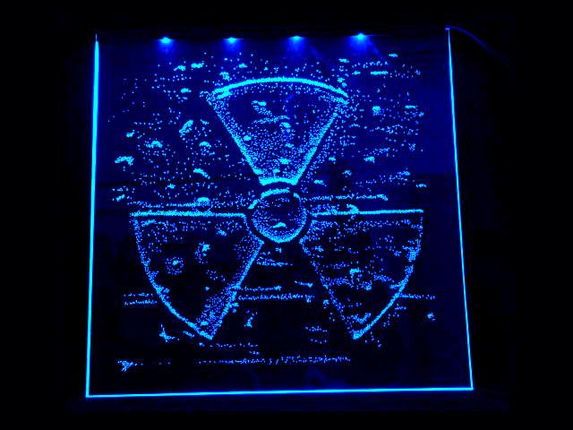 Окно ручной работы  с гравировкой и подстветкой  Radiation синяя