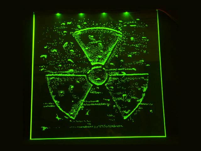 Окно ручной работы  с гравировкой и подстветкой  Radiation зеленая