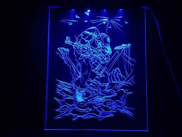 Окно ручной работы  с гравировкой и подстветкой   S T A L K E R синий