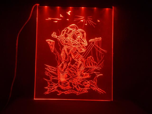 Окно ручной работы  с гравировкой и подстветкой   S T A L K E R красный