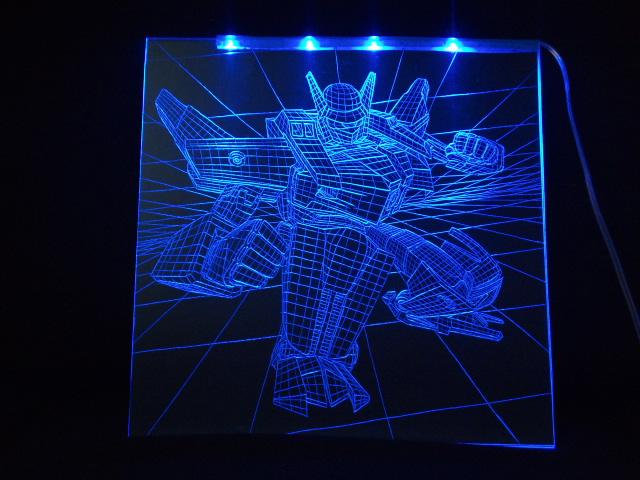 Окно ручной работы  с гравировкой и подстветкой  Трансформер синий