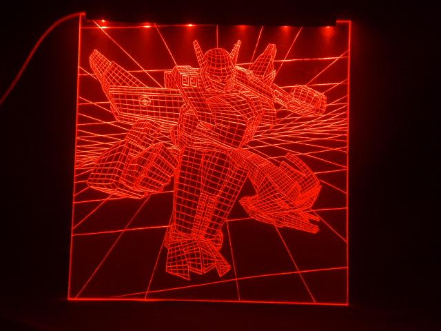Окно ручной работы  с гравировкой и подстветкой  Трансформер красный