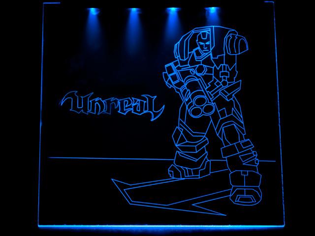 Окно для корпуса с гравировкой и подсветкой Unreal синий UT 20 blue 280x280