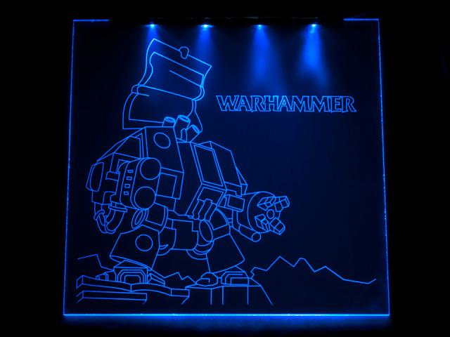 Окно для корпуса с гравировкой и подсветкой Warhammer синий WM 10 blue 280x280