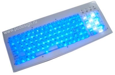 Клавиатура белая со светодиодной подсветкой  реагирует на звонок моб телефона