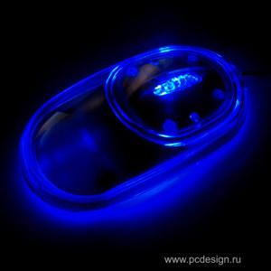 Acrylic mouse   оптическая мышка  прозрачная  с синей подсветкой