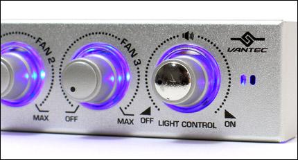 Панель управления вентиляторами и подсветкой  3 5   серебр   с 2 синими лампами