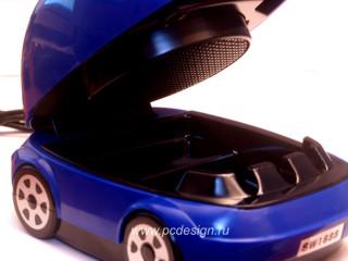 USB Пепельница машина с вытяжкой и угольным  карбоновым  фильтром синяя