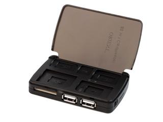 USB Кардридер ORIENT BA 200 с USB хабом на 2 порта и с контейнером для карт