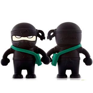 Флешка ниндзя черный 8 ГБ с зеленой сумкой