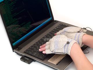 Перчатки с подогревом  USB  серые
