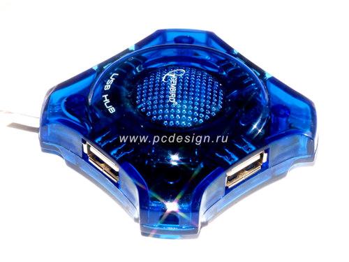 Концентратор GEMBIRD  на 4 USB порта  синий  прозрачный