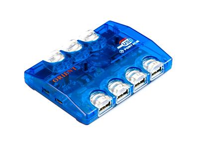 Хаб USB 1 1 на 7 портов с блоком питания  прозрачный