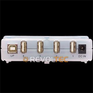 Концентратор REVOLTEC USB 2 0 HUB на 4 USB порта  синий  прямоуг   внеш  пит