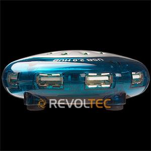 Концентратор  REVOLTEC UFO USB 2 0 HUB на 4 USB порта  синий  круглый  внеш пит